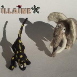 Doudous salamandre et mammouth